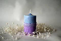 Svietidlá a sviečky - Sviečka modro fialová - 10176464_