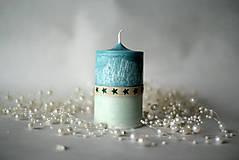 Svietidlá a sviečky - Modro biela sviečka - 10178070_