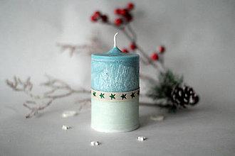 Svietidlá a sviečky - Modro biela sviečka - 10178068_