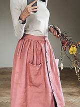- Dámska ľanová sukňa na gombíky - 10175051_