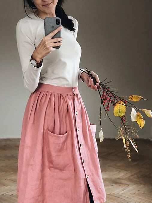6e2e0daf47ab Dámska ľanová sukňa na gombíky   SIMPLY GREY - SAShE.sk - Handmade Sukne