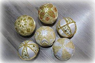 Dekorácie - Vianočné gule sada 6 ks - zlaté - 10178703_