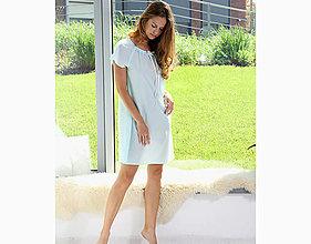 Pyžamy a župany - Lilly - nočná košeľa, bio bavlna, modrá - 10176810_