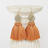 Náušnice - Zlaté náušnice s oranžovými strapcami - 10175896_