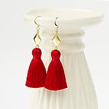 Náušnice - Strapcové červené vianočné náušnice + 17 farieb - 10176352_