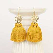 Náušnice - Zlaté náušnice s horčicovými strapcami - 10175941_