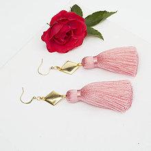 Náušnice - Strapcové ružové náušnice + 17 farieb - 10176302_