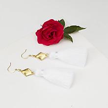 Náušnice - Strapcové biele náušnice + 17 farieb - 10176430_