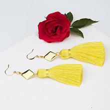 Náušnice - Strapcové žlté náušnice + 17 farieb - 10176515_