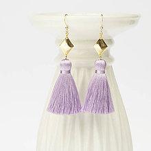 Náušnice - Strapcové fialové náušnice + 17 farieb - 10176545_