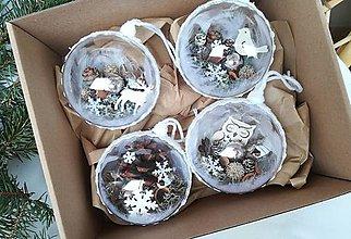 Dekorácie - Vianočné gule 4 ks strieborné s vločkami - 10178576_