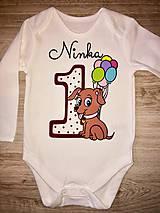Detské oblečenie - Body narodeniny so psíkom v tmavočervenej verzii - aj ako rodinný set - 10173894_