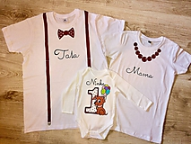 Tričká - Maľovaný narodeninový set tričiek s body- obsahujúci 3 ks - 10173896_