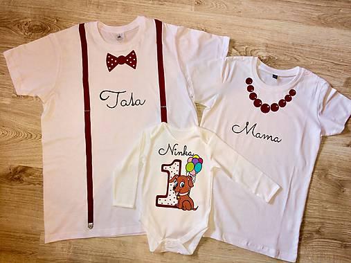 Maľovaný narodeninový set tričiek s body- obsahujúci 3 ks