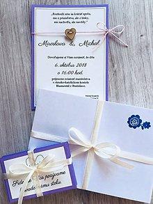 Papiernictvo - Levanduľové (príp.farba na želanie) svadobné oznámenia srdiečko + samolepky na výslužky zdarma - 10173911_