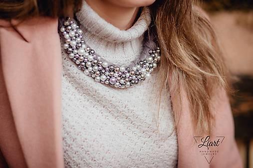 9978cd6f9 Fialovo-strieborný perlový náhrdelník + náučnice / Liart - SAShE.sk ...