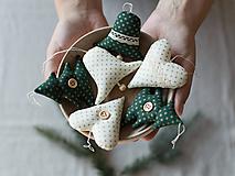 Dekorácie - Vianočné ozdoby - smotanovo zelená SADA - 10177191_