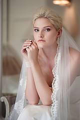 Ozdoby do vlasov - Lace - Krajkový závoj 180 cm biela - 10177389_