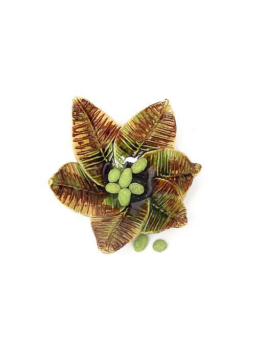 miska listy zeleno hnedá
