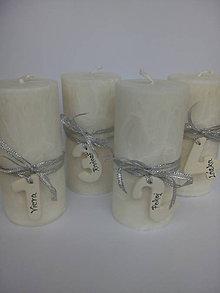 Svietidlá a sviečky - adventné sviečky s číslami / biele - 10177787_