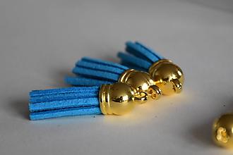 Polotovary - Kožený strapec lagúna (zlato) 35mm, 0.35€/ks - 10175952_