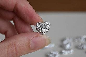 Komponenty - Kabošon druzy srdce strieborný 12mm, 0.15€/ks - 10176056_