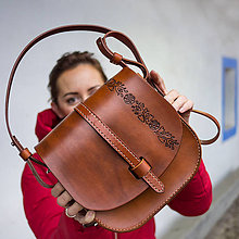 "Kabelky - Kožená kabelka karamelka ""FOLK"" - 10176905_"