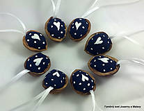 Dekorácie - vianočné Oriešky Modré Bodkované 2 - 10178136_