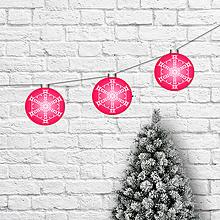 Dekorácie - Girlanda vianočné gule cyklamenové - 10177103_