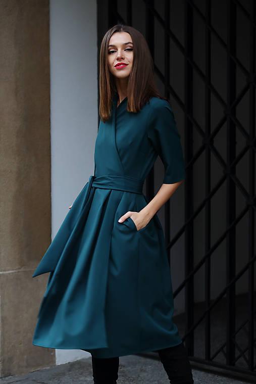 Šaty - Zelené zavinovacie šaty  - 10181537_
