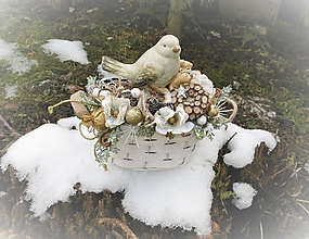 Dekorácie - Vianočná dekorácia s vtáčikom - 10179893_
