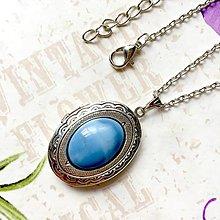 Náhrdelníky - Blue Opal Locket Necklace / Oválny otvárací medailón s modrým opálom /1256 - 10179900_