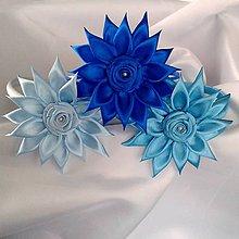 Detské doplnky - Dievčenské čelenky modré odtiene - 10182101_