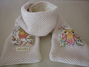 Detské doplnky - Detský šál Lesné vtáčiky MERINO+BIOBAVLNA - 10179456_