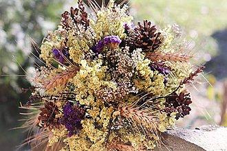Dekorácie - Prírodná strapatá kytica - 10179501_