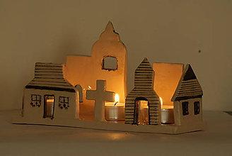 Svietidlá a sviečky - keramický svietnik - liptovská dedina - 10182420_