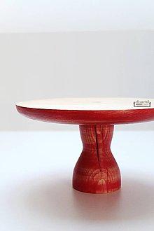 Nádoby - Drevený podnos na nožičke - červený - 10181149_