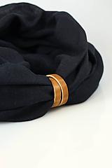 Doplnky - Elegantný pánsky čierny ľanový nákrčník s koženým remienkom - 10180860_