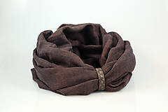 Šály - Čokoládovohnedý hrejivý nákrčník s koženým remienkom - 10181874_