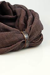 Šály - Čokoládovohnedý hrejivý nákrčník s koženým remienkom - 10181875_