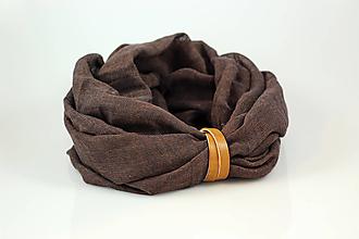 Šály - Čokoládovohnedý hrejivý nákrčník s koženým remienkom - 10182026_