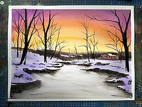 Obrazy - Obraz - magická zimná krajinka - akvarel - 10179979_