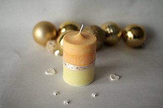 Svietidlá a sviečky - Oranžovo  -žltá sviečka - 10179056_