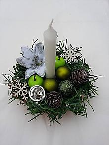 """Svietidlá a sviečky - Vianočný svietnik """"Zeleno-biely"""" - 10180393_"""