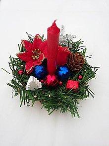 """Svietidlá a sviečky - Vianočný svietnik """"Červeno-modrý"""" - 10180423_"""