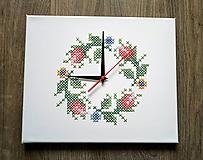 """Hodiny - Vyšívané hodiny """"ružový venček"""" - 10180395_"""