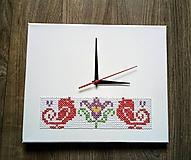 """Hodiny - Vyšívané hodiny """"vtáčiky"""" - 10180488_"""