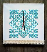 """Hodiny - Vyšívané hodiny """"námraza"""" - 10180541_"""