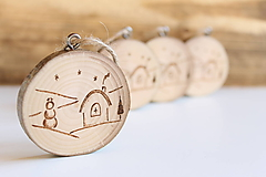 Dekorácie - Malá drevená vianočná ozdoba