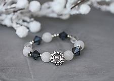 Náramky - Minerálny náramok - Winter Bloom - 10181282_